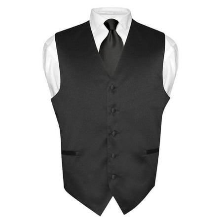Men's Dress Vest & NeckTie Solid BLACK Color Neck Tie Set for Suit or Tuxedo](Naked Men In Suits)
