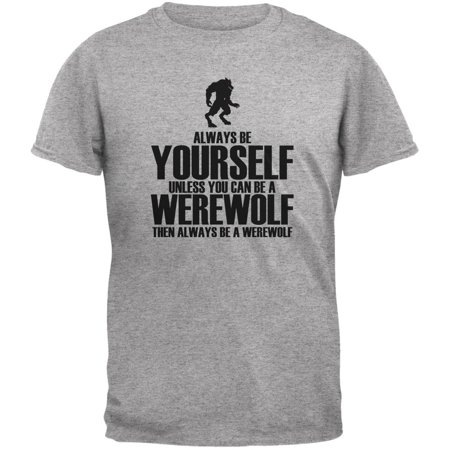 Halloween Always Be Yourself Werewolf Heather Grey Youth T-Shirt (Halloween Shoes)