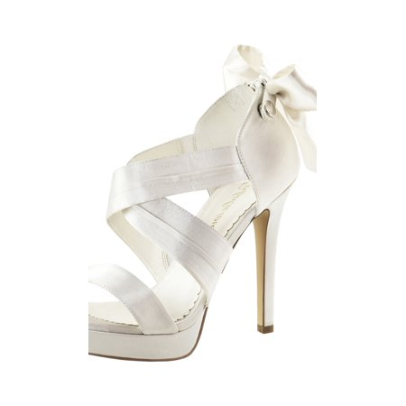 88aa6007610 Womens Ivory Bridal Shoes Platform Sandals Strappy Open Toe 4 3/4 Inch Heels