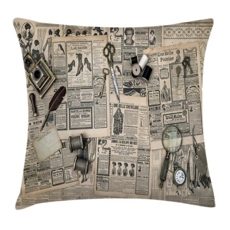 Clock Decor Throw Pillow Cushion Cover, Antique Accessories Design Old Fashion Magazine Sewing and Writing Tools, Decorative Square Accent Pillow Case, 18 X 18 Inches, Beige and Black, by (Best Fashion Magazine Covers)