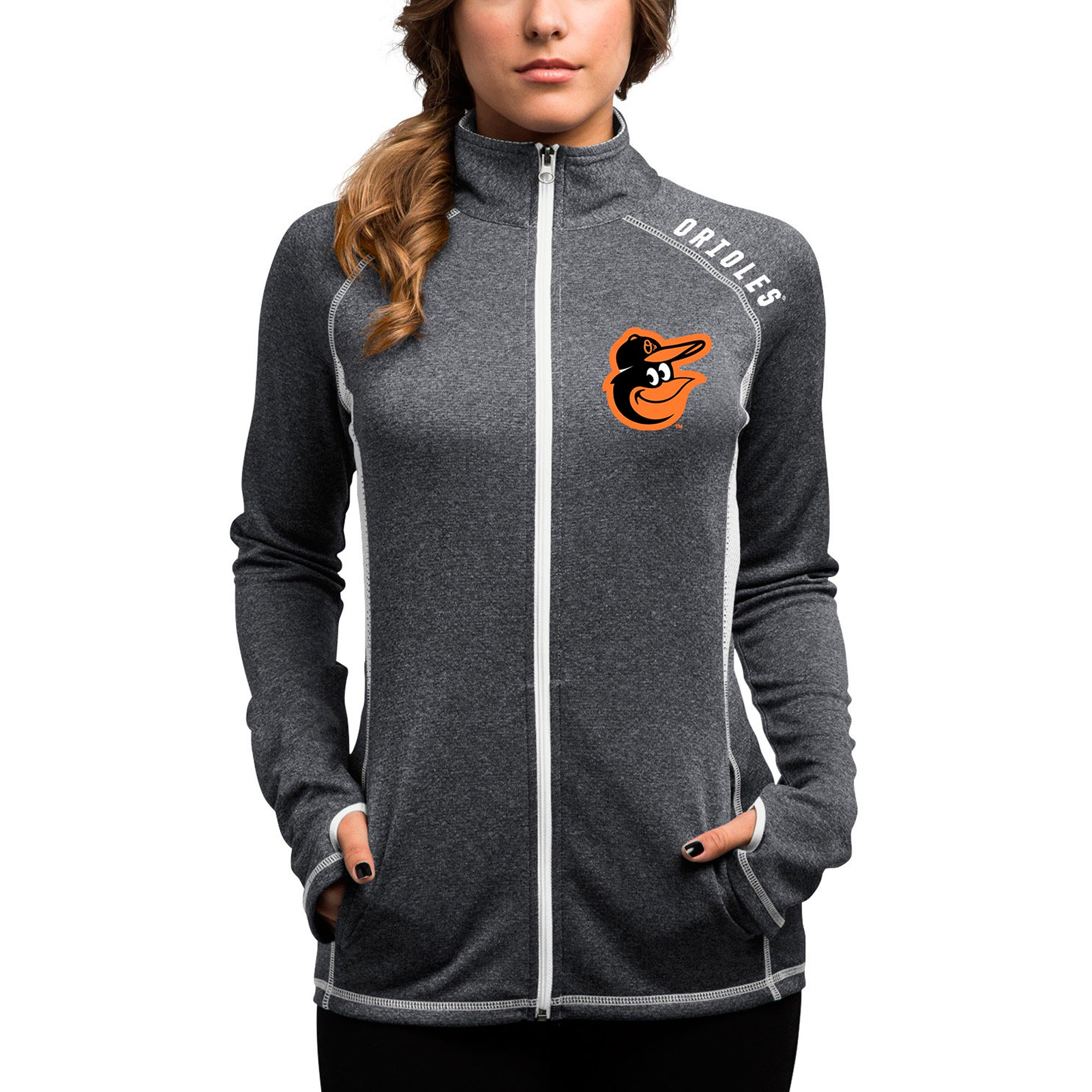 Women's Majestic Charcoal Baltimore Orioles Dream of Victory Therma Base Full-Zip Jacket by MAJESTIC LSG
