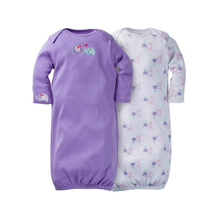 Gerber Newborn Baby Girl Lap Shoulder Gown with Mitten Cuff, 2-Pack