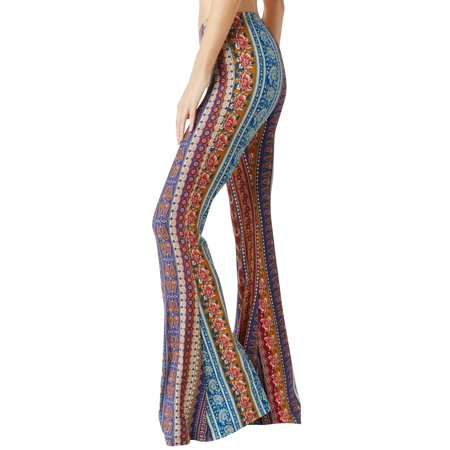 - STARVNC Women Vintage Elastic Waist Casual Flare Trousers Boho Print Long Pants