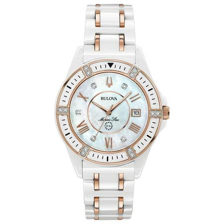 Bulova Women's White Diamond Marine Star Watch