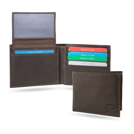 New York NY Jets NFL RFID Blocking Shield Leather Billfold Wallet