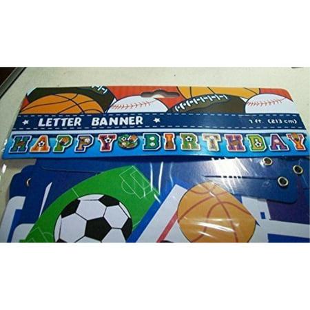 Sports Themed Happy Birthday Letter Banner - Birthday Themes Ideas
