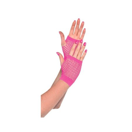 Amscan Amscan Pink Fishnet Stretchy Short Gloves Costume Accessories - Halloween Costumes Fishnets
