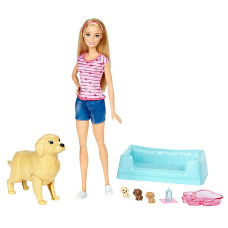 Barbie Newborn Pups Set with Doll, Mommy Dog & Color-Change