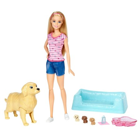 Barbie Newborn Pups Set with Doll, Mommy Dog & Color-Change Puppies - Barbie Cheerleading