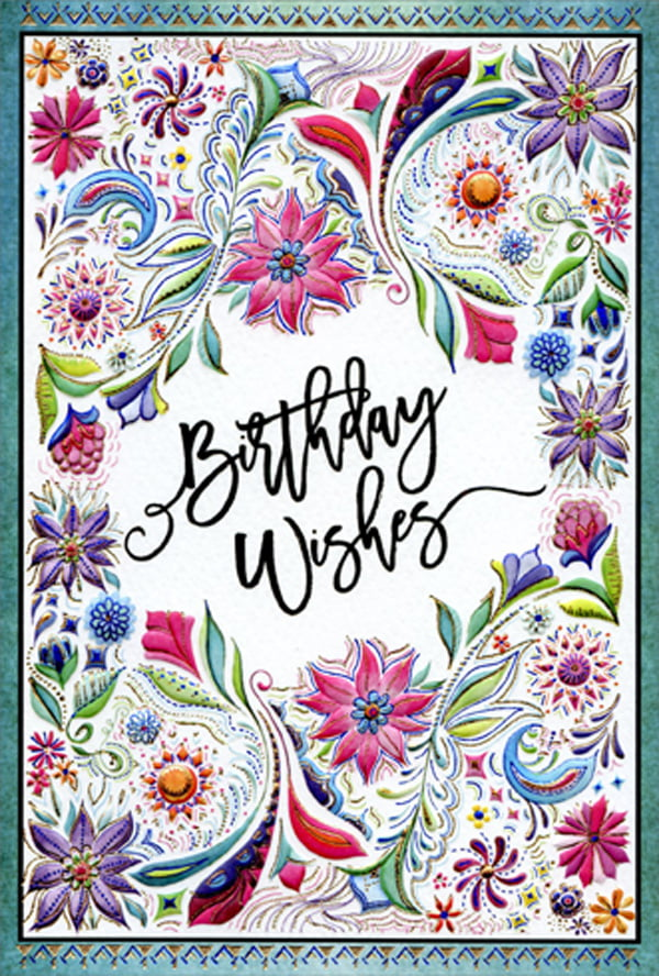 pictura birthday wishes floral with teal frame michele