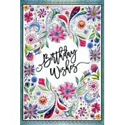 Pictura Birthday Wishes Floral with Teal Frame Michele Frusciano Two Twenty Two Feminine Birthday Card for Her / Woman