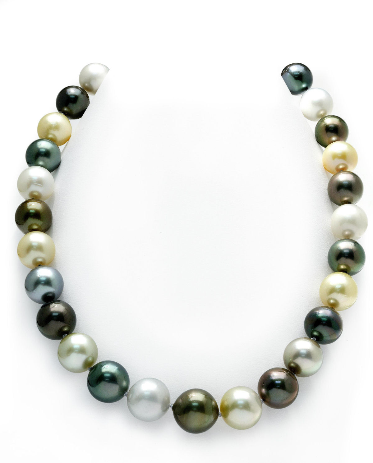 14K Gold 12-15mm Tahitian & Golden South Sea Multicolor Cultured Pearl Necklace by The Pearl Source