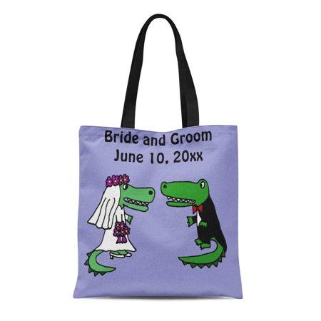 ASHLEIGH Canvas Tote Bag Funny Bride and Groom Alligator Wedding Cute Fun Reusable Handbag Shoulder Grocery Shopping Bags