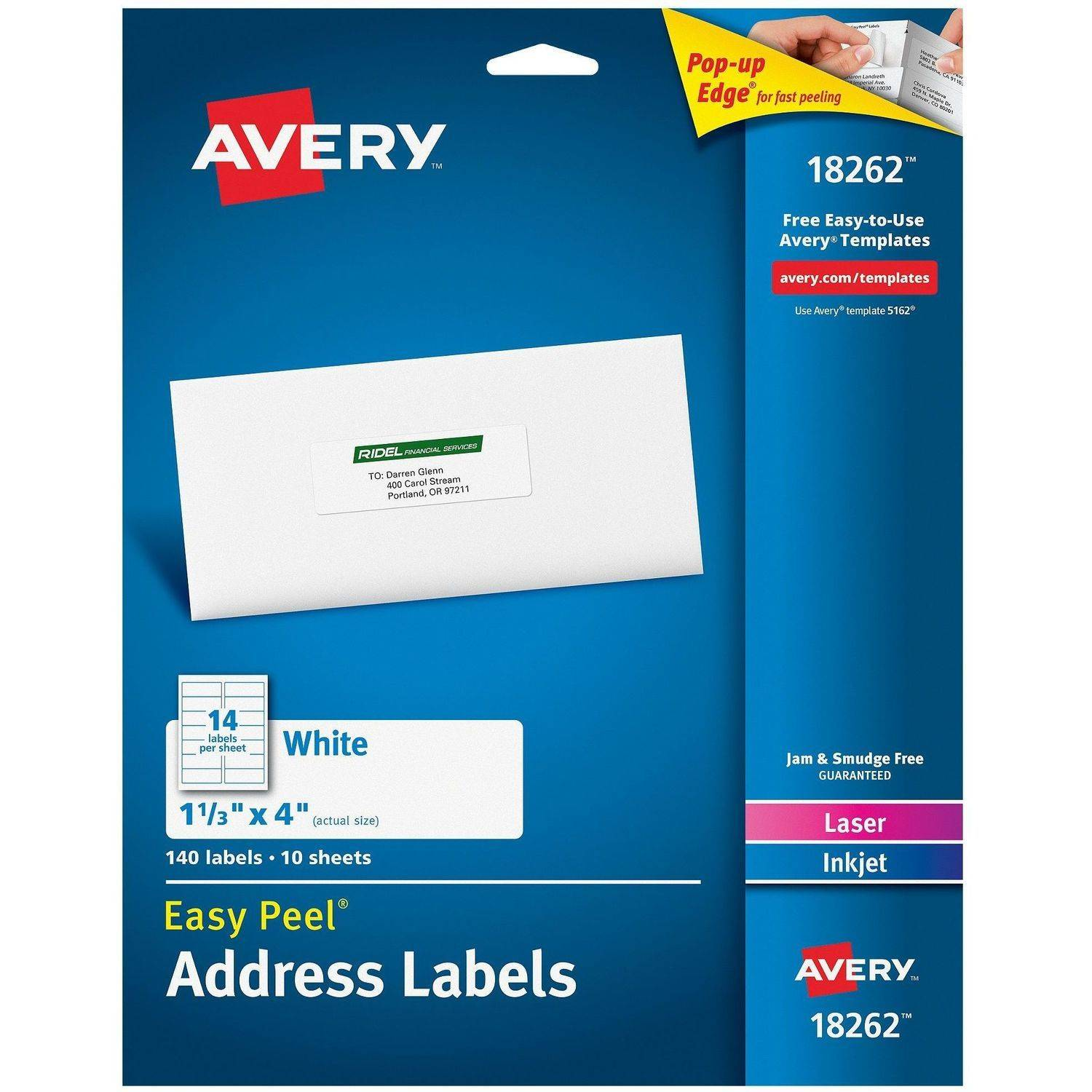 "Avery Easy Peel White Address Labels 18262, 1-1/3"" x 4"", Laser/Inkjet, 140pk"