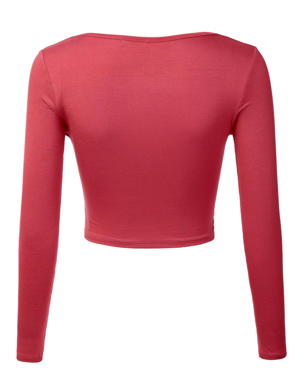 c3ad6119738 Doublju - Doublju Women's Deep V Neck Long Sleeve Unique Slim Fit Coss Wrap  Shirts Crop Tops CORAL XL - Walmart.com