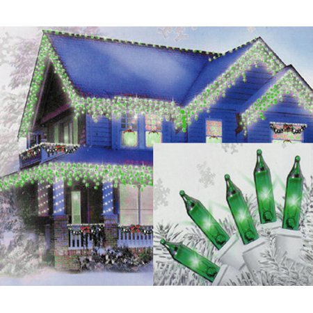 Set of 100 Green Mini Icicle Christmas Lights - White Wire ()