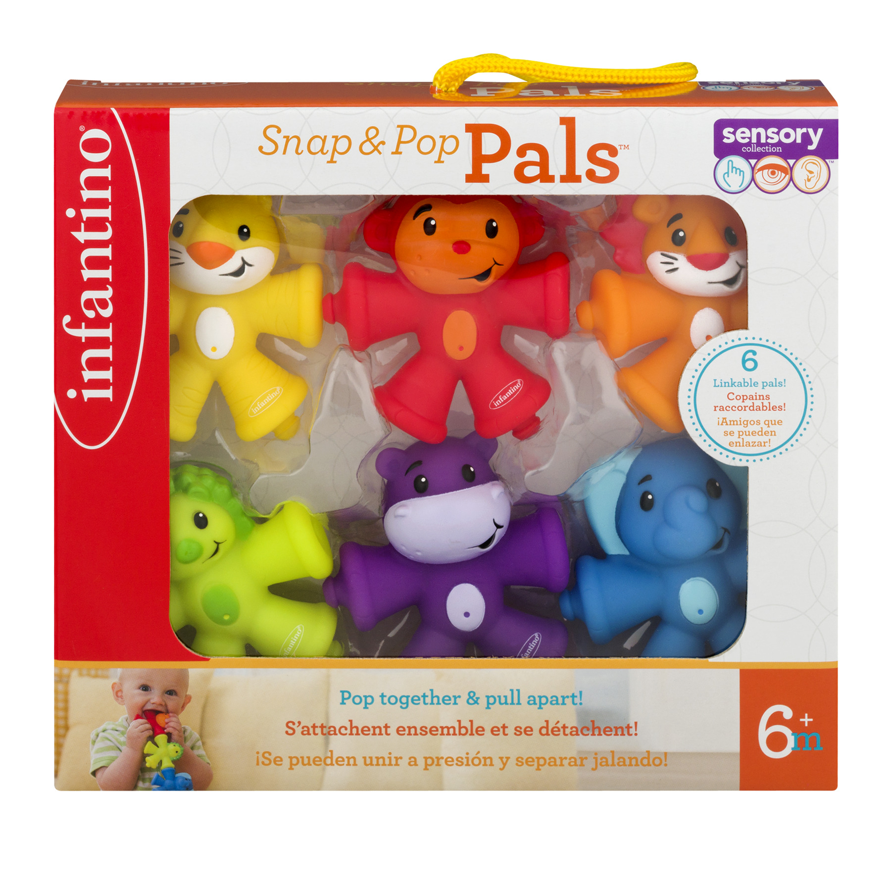 Infantino Snap & Pop Pals 6+m - 6 CT6.0 CT