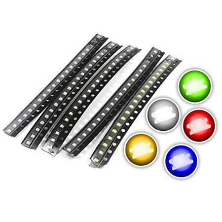 Surface Mount LED Lights, SMD 1206, 5 Colors, 100 Pack by (Worksurface Light)