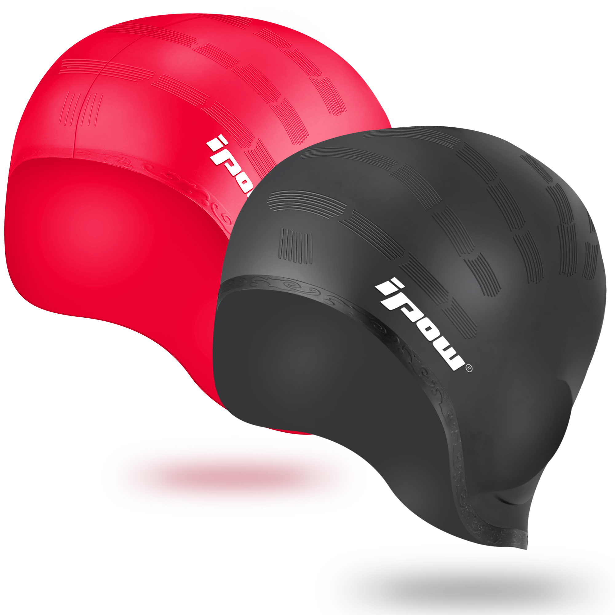 IPOW 2 Pack Swimming Cap Waterproof Unisex Earmuffs Silicone Non-slip Elastic Swim Cap for Adults Kids Women Men Boys Girls - Keeps Hair Clean Ear Dry with Ear Protection for Swimming, Black + Red