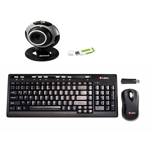 Microsoft LifeCam VX-3000,Kingston DataTraveler I USB 2.0, 2GB, & Labtec Media Wireless Desktop 800  Keyboard & Mouse Bundle