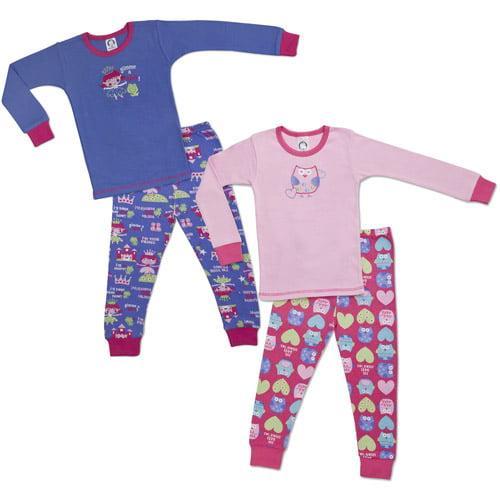 Gerber - baby girls' cotton pajamas, 4 piece pack