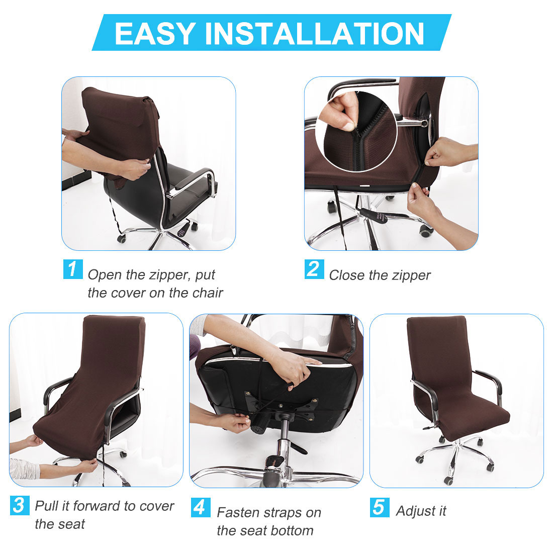 Jacquard Stripe Computer Chair Covers High Back Desk Chair Slipcovers For Universal Rotating Boss Chair With Armrest Black Large Piccocasa Stretchable Waterproof Office Chair Cover Home Kitchen Home Decor