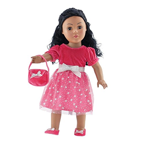 18 Inch Doll Clothes | Pink Holiday Dress Outfit with Silver Stars, Includes Velvet Shoes and Purse | Fits American Girl Dolls