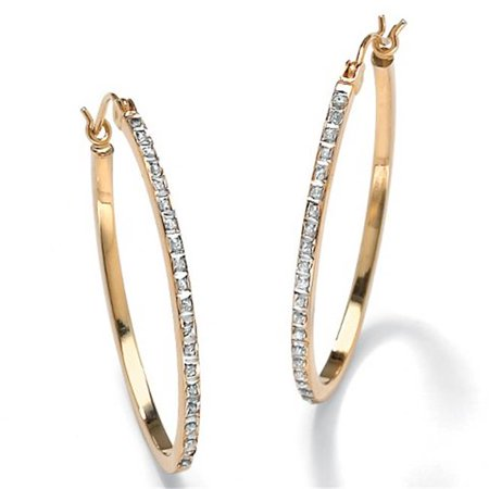 PalmBeach Jewelry 37152 Diamond Accent 14k Yellow Gold Diamond Fascination Hoop Earrings 1