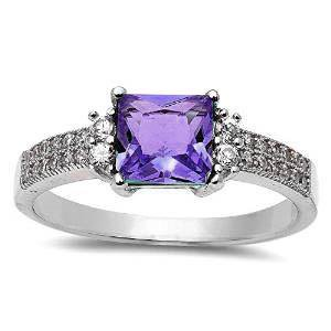 Sterling Silver Square Synthetic Amethyst Clear CZ Double Row Ring Size 6