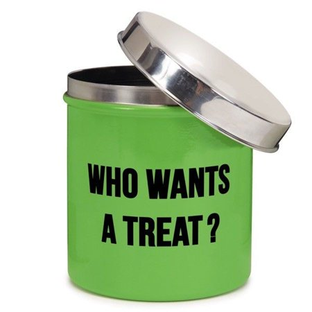 - Chit Chat Dog Treat Canister Green Stainless Steel