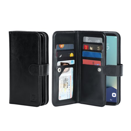 Gear Beast Galaxy S9 Wallet Case, Flip Cover Dual Folio Case Slim Protective PU Leather Case with 7 Slot Card Holder Including ID Holder 2 Inner Pockets Stand Feature Wristlet For Men and Women Digital Dual Band Cell Phone