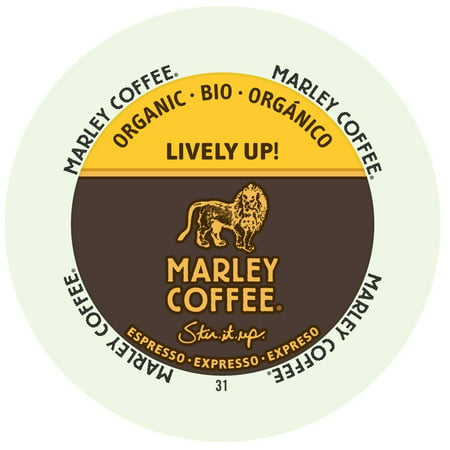 Marley Coffee Lively Up Espresso Dark Organic, RealCup portion pack for Keurig K-Cup Brewers, 24 Count