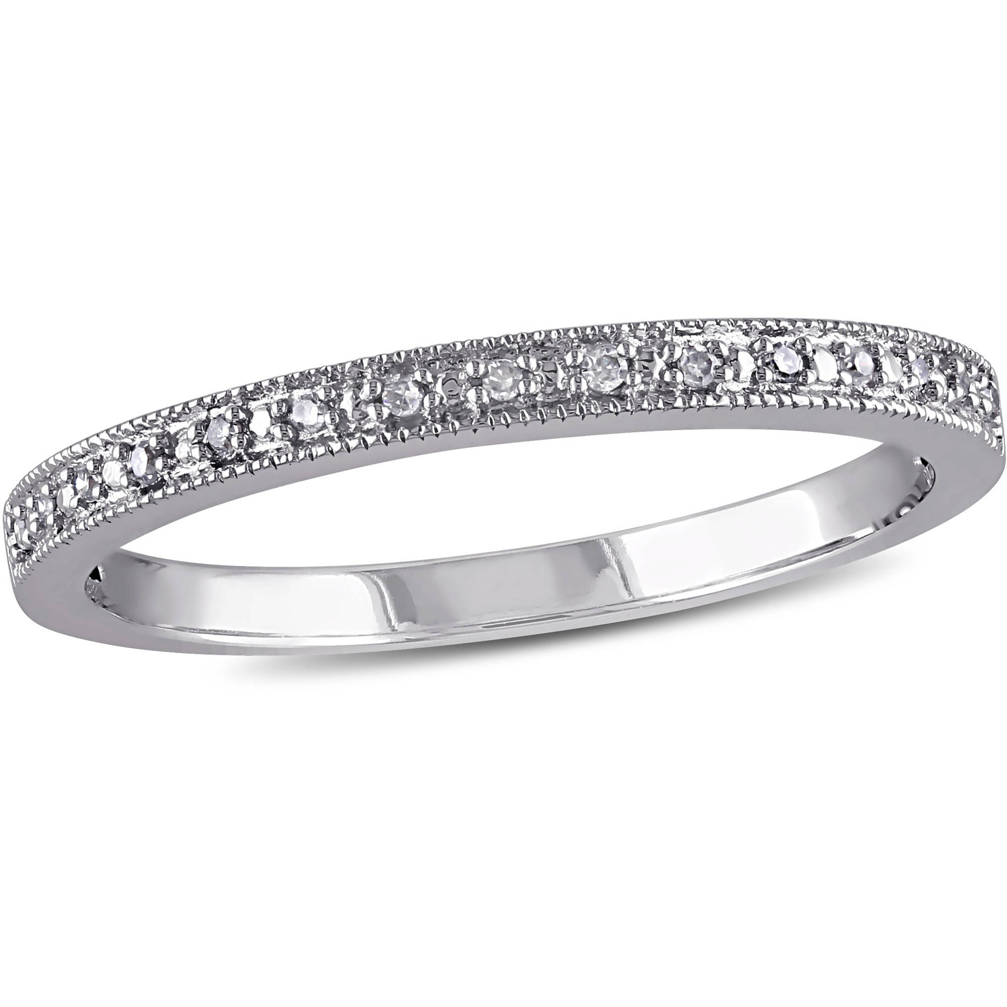 Miabella Diamond-Accent 10kt White Gold Semi-Eternity Wedding Band by Miabella