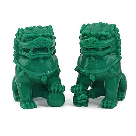 "Feng Shui Pair of 3"" Green Fu Foo Dogs Guardian Lion Wealth Protection Statue Figurine Paperweights Housewarming Congratulatory Gift EHD"