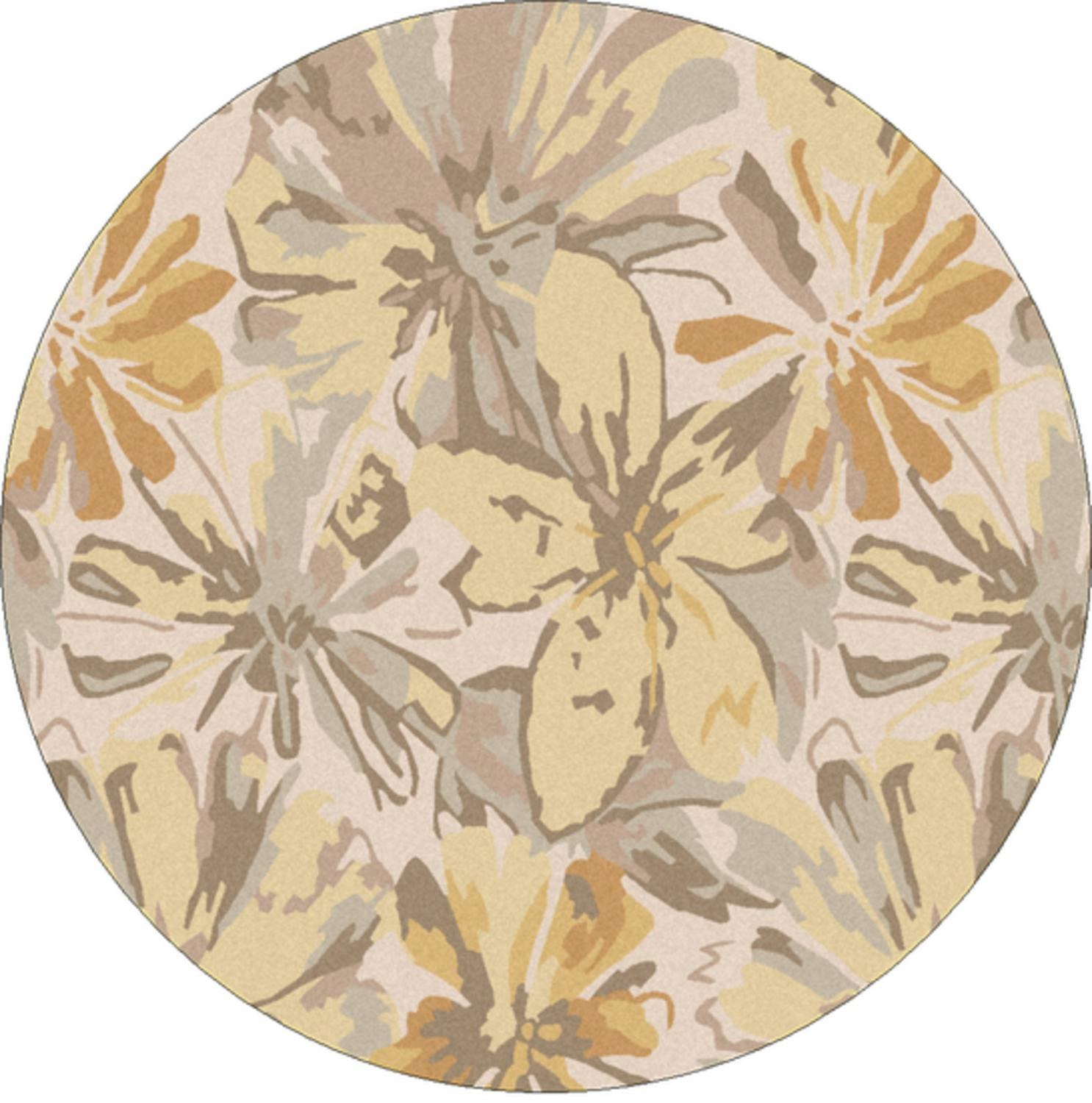 9.75' Daisy Dream Gray and Yellow Flower Round Wool Area Throw Rug