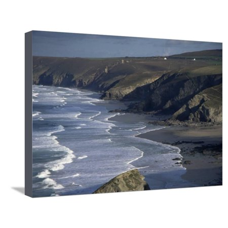 Surf and Tin Mine Chimneys in Distance, Porthtowan, Cornwall, England, United Kingdom Stretched Canvas Print Wall Art By D H Webster