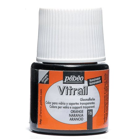 Vitrail Stained Glass Effect Glass Paint 45-Milliliter Bottle, Orange, The vitrail transparent glass paint range is declined in 26 luminous.., By Pebeo From USA