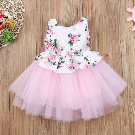 Summer Toddler Baby Girls Princess Floral Pink Tutu Tulle Party Dress