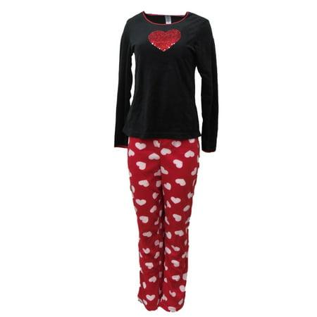 (Celestial Dreams Womens Red Glitter Heart Pajamas Fleece Pajama Set)