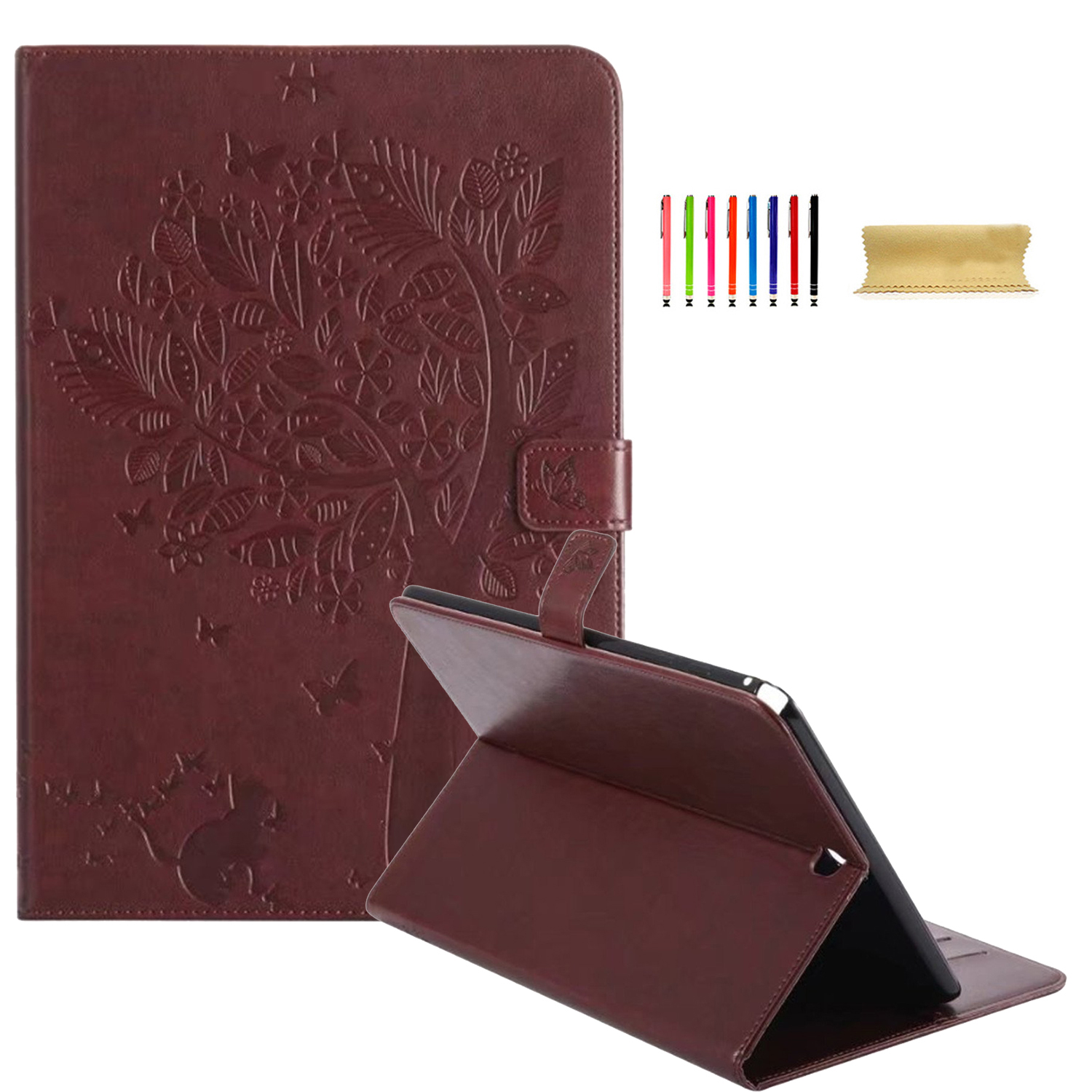 """Galaxy Tab A 9.7 Case, Goodest Premium PU Leather Embossed Stand Smart Case [Card Slots] Folio Flip Wallet Stand Cover with Auto Sleep/Wake Feature for Samsung Galaxy Tab A 9.7"""" SM-T550/P550, Coffee"""