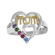 Personalized Family Jewelry Heart Birthstone Mother's Ring available in Sterling Silver, Gold and and White Gold