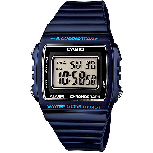 Casio W215H-2A Classic Square Digital 50m Water Resistant Navy Resin Band With Black/neutral Face