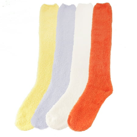 Women's Fuzzy Knee High Soft Colored Socks - Assortment C - 4 Pairs Colored Knee High Socks