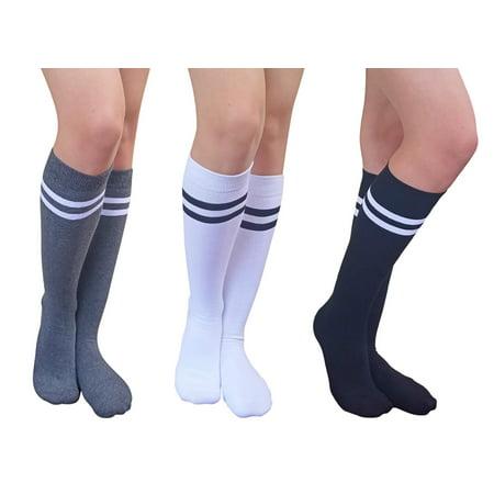 bfd9723a46d AM Landen - AM Landen Stripe Knee High Socks Stripe Socks Cheerleader Socks  Uniform Socks (3 pairs Black