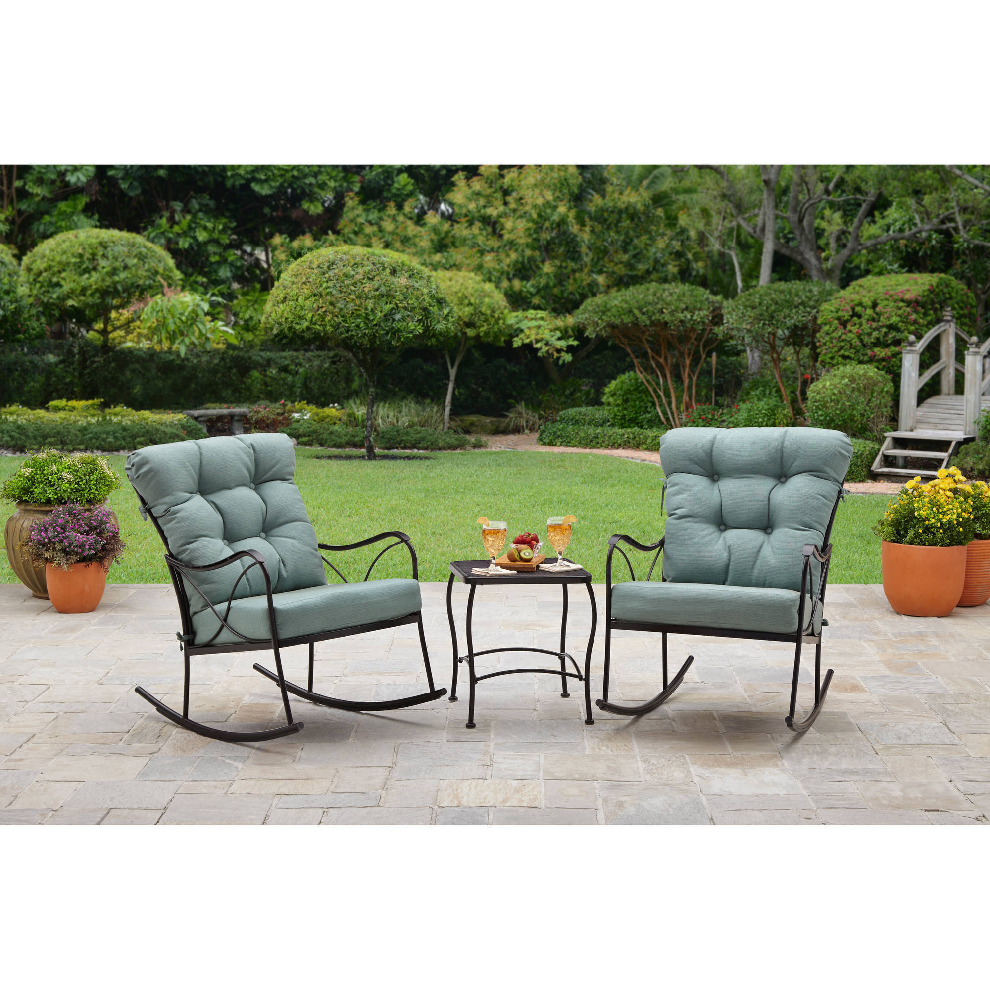 Better Homes And Gardens Seacliff 3 Piece Rocking Chair Bistro Set    Walmart.com