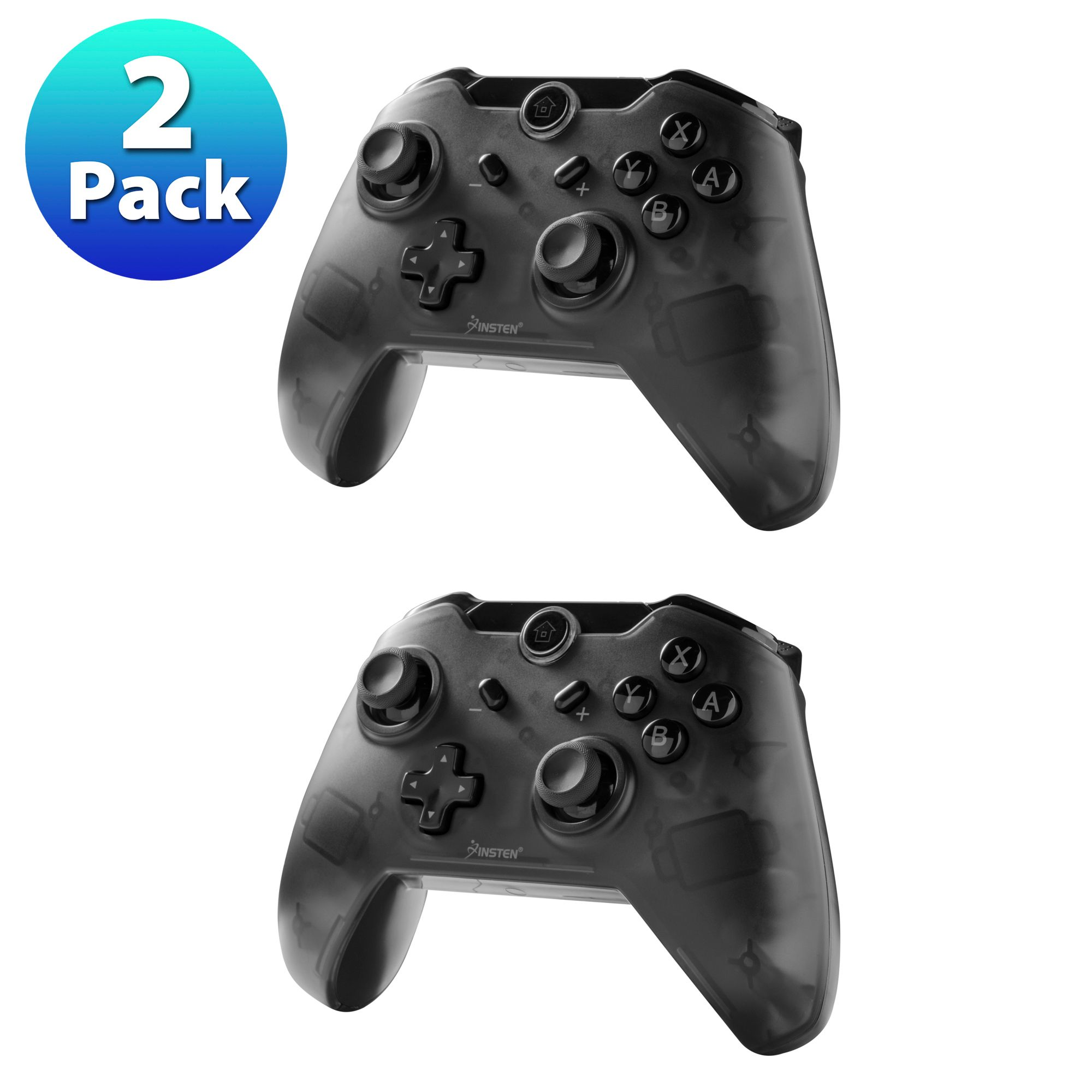 Insten 2-Pack Wireless Pro Controller For Nintendo Switch with Micro USB Charge Cable - Smoke Black