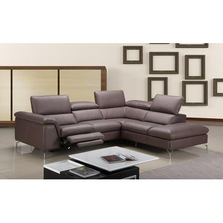 J&M Anastasia Modern Premium Brown Leather Sectional Sofa Power ...