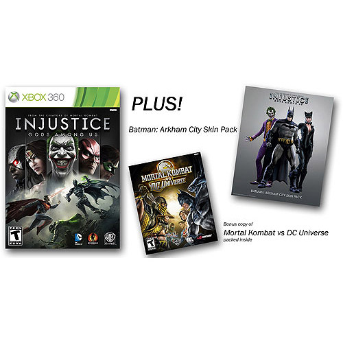 Injustice: Gods Among Us (Xbox 360) w/ Walmart Exclusive Bonus* Mortal Kombat Vs. DC Universe And Batman Arkham City Skins Pack
