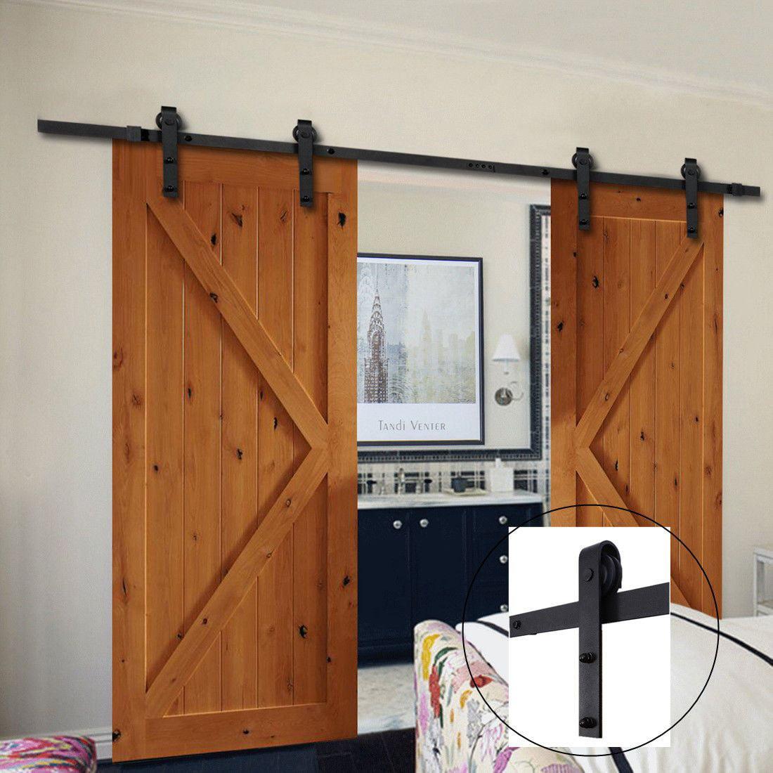 13 FT Sliding Barn Door Hardware Track System Kit Double Door Wall Mount Guide