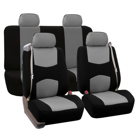 Full Set Seat Covers for Integrated Seatbelt Car Coupe Sedan SUV Van, Gray